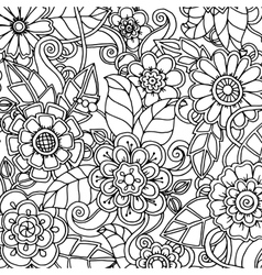 Doodle pattern with doodles flowers and paisley vector