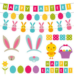 easter decoration and photo booth props set vector image