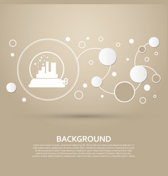 Factory icon on a brown background with elegant vector
