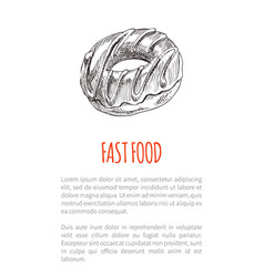 Fast food chocolate donut vector