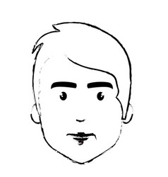 figure nice fece man with hairstyle vector image
