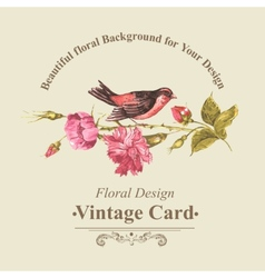 Floral Bouquet with Roses and Bird Vintage Card vector image