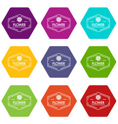 flower shop icons set 9 vector image