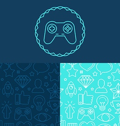 game badge and seamless patterns vector image vector image