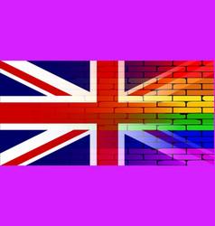 Gay rainbow wall union jack vector