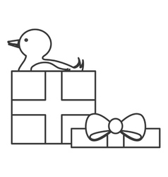 gift box with duck icon vector image
