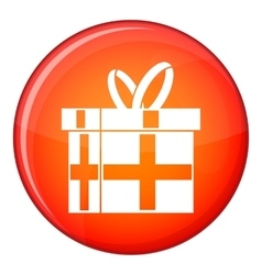 Gift in a box icon flat style vector