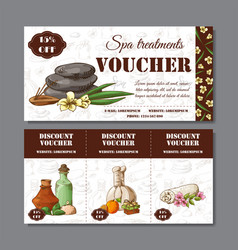 Gift voucher template with spa elements in hand vector