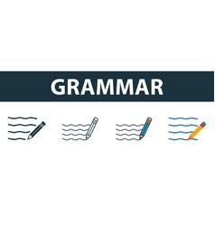 Grammar icon set four elements in diferent styles vector