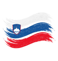 Grunge brush stroke with national flag of slovenia vector
