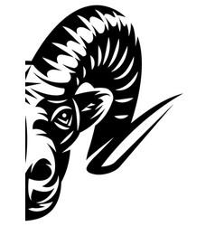 half a lamb head template for design vector image