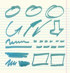Hand drawn highlighter elements on copybook vector