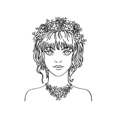 Hand drawn young girl with curly hair and flowers vector