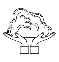 Hands holding a cloud vector