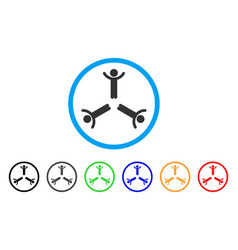 hands up men rounded icon vector image