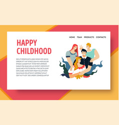 Happy childhood website design template with vector