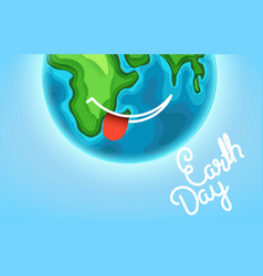 Happy earth day greeting card smiling earth with vector