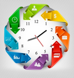 Infographics origami clock with icons vector image vector image
