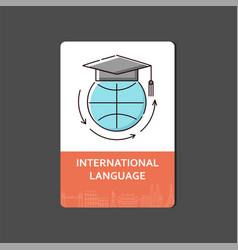 international language banner with icon globe vector image