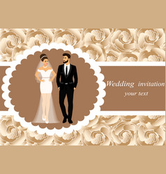 invitation card with the bride and groom on a vector image