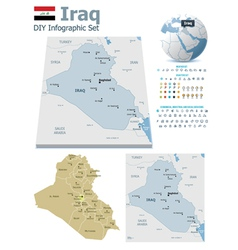 Iraq maps with markers vector