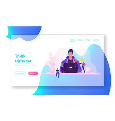 it worker at workplace website landing page vector image