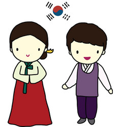Korea Traditional Dress vector image