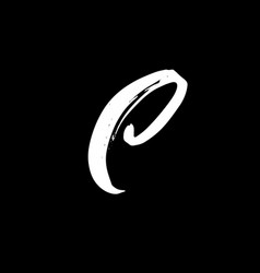 Letter c handwritten by dry brush rough strokes vector