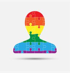 lgbt puzzle piece silhouette man lgbt vector image