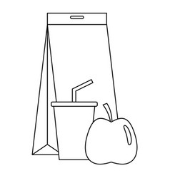 Lunch pack icon outline style vector