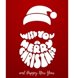 Merry Christmas Lettering with Santa Claus beard vector image