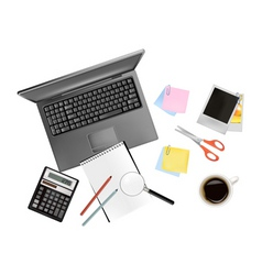 Notebook and office supplies vector