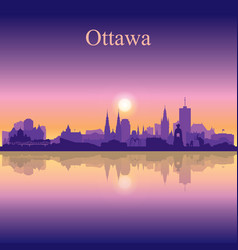 Ottawa city silhouette on sunset background vector