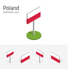 Poland flag set of 3d isometric icons vector