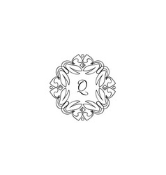 q letter logo monogram design elements line art vector image