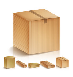 Realistic cardboard boxes set isolated vector