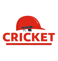 red cricket helmet logo flat style vector image
