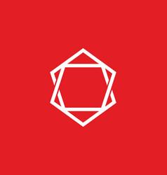 red white unique hexagon shape vector image