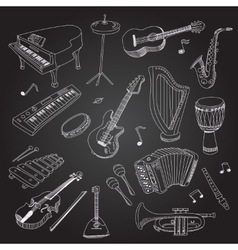 Rock and pop music hand drawn instruments guitar vector