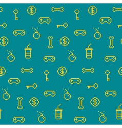 Seamless oldschool gaming inspired pattern game ic vector image