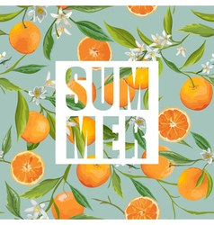 Seamless Pattern Orange Fruits Background Floral vector