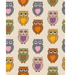 Seamless Pattern with Color Owls vector image