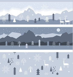 set horizontal banners and seamless pattern vector image