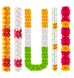 Set indian flower garland mala isolated on white vector