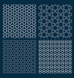 Set of four arabic geometric patterns with stars vector