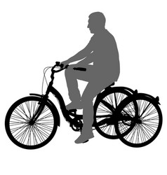 silhouette of a tricycle male on white background vector image