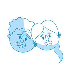 Silhouette old couple face with hairstyle vector