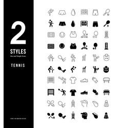 Simple line icons tennis vector