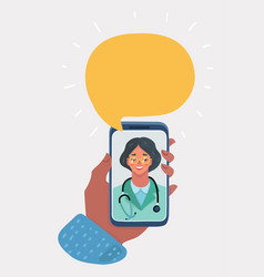 smiling woman doctor on phone screen vector image