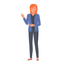 smiling woman gestures by hands during talk vector image